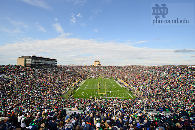 "Nov. 3, 2012; The Notre Dame Marching Band spells out ""ND"" before the team takes the field at Notre Dame Stadium before the Pitt game, 2012...Photo by Matt Cashore/University of Notre Dame"