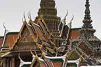 Roofs of the Prasat Phra Thep Bidon and Phra Viharn Yod, Bangkok, Thailand