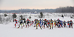 The elite women's freestyel division in the first few hundred yards of the 2008 American Birkebeiner held Saturday, Feb. 23 held on the 51 kilometer course from Cable to downtown Hayward, Wis. Behind them thousands more of cross-country skiers await their turn.