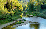"""Idaho, North,, Kingston. The Little North Fork of the Coeur d""""Alene River  on a summer morning."""
