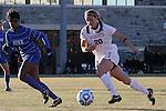 29 November 2013: Virginia Tech's Murielle Tiernan (20) and Duke's Natasha Anasi (4). The Virginia Tech University Hokies played the Duke University Blue Devils at Thompson Field in Blacksburg, Virginia in a 2013 NCAA Division I Women's Soccer Tournament Quarterfinal match. Virginia Tech won the game 3-0.