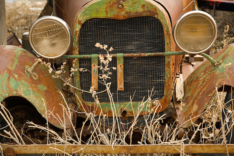 Front of antique car at the Gold King Mine in Jerome, Arizona