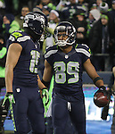 Seattle Seahawks Wide Receiver Doug Baldwin (89) celebrates his 80-yard touchdown pass with teammate Jermaine Kearse (15) in the fourth quarter against the Pittsburgh Steelers at CenturyLink Field in Seattle, Washington on November 29, 2015.  The Seahawks beat the Steelers 39-30.      ©2015. Jim Bryant Photo. All Rights Reserved.