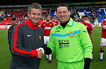 St Johnstone v Man Utd XI....31.07.10  Alan Main Testimonial.Ole Gunnar Solksjaer and Alan Main at the end.Picture by Graeme Hart..Copyright Perthshire Picture Agency.Tel: 01738 623350  Mobile: 07990 594431