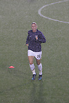 27 April 2008: Abby Wambach (USA) warms up in a driving rain storm. The United States Women's National Team defeated the Australia Women's National Team 3-2 at WakeMed Stadium in Cary, NC in a rain delayed women's international friendly soccer match.