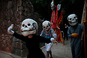 Members of Paperhand Puppet Intervention run through a dress rehearsal of The Serpent's Egg at Forest Theater on the campus of UNC-Chapel Hill, Mon., Aug. 1, 2011.