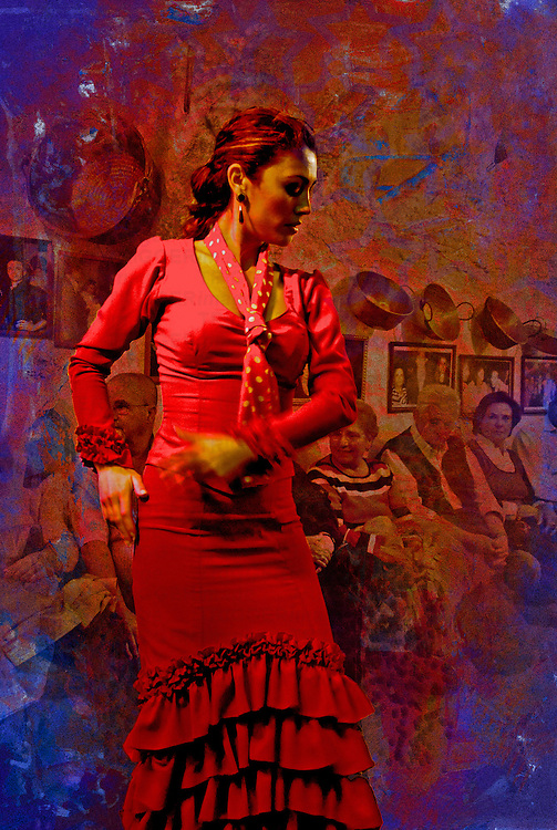 A woman dances passionately to Flamenco music i Spain.