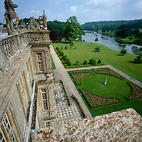 The roof of Longleat affords a spectacular view over the gardens to the river