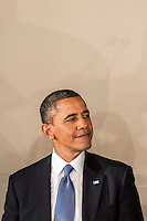 President Barack Obama attends the Inaugural Luncheon in Statuary Hall of the U.S. Capitol on Monday, January 21, 2013 in Washington, DC.