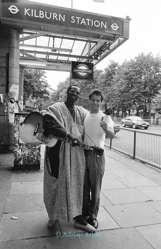 Ali Farka Toure with Nick Gold of World Circuit records , in London, London 1991.
