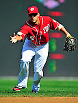 25 September 2010: Washington Nationals infielder Ian Desmond bare-hands a ball after loosing it in the sun during game action against the Atlanta Braves at Nationals Park in Washington, DC. The Braves shut out the Nationals 5-0 to even their 3-game series at one win apiece. The Braves' victory was the 2500th career win for skipper Bobby Cox. Cox will retire at the end of the 2010 season, crowning a 29-year managerial career. Mandatory Credit: Ed Wolfstein Photo