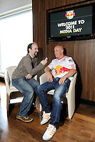 Luke Rodgers (9) of the New York Red Bulls is interviewed on Media Day at Red Bull Arena in Harrison, NJ, on March 15, 2011.