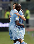 Calcio, Europa League: Lazio vs Panathinaikos. Roma, stadio Olimpico, 8 novembre 2012..Lazio forward Libor Kozak, of Czech Republic, is hugged by teammate Michael Ciani, of France, left, after scoring during the Europa League Group J football match between Lazio and Panathinaikos, at Rome's Olympic stadium, 8 november 2012..UPDATE IMAGES PRESS/Riccardo De Luca