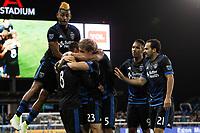 San Jose, CA - Saturday May 06, 2017: Victor Bernardez celebrates scoring during a Major League Soccer (MLS) match between the San Jose Earthquakes and the Portland Timbers at Avaya Stadium.