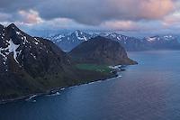 View over Uttakleiv from Nonstind mountain peak, Vestvågøy, Lofoten Islands, Norway