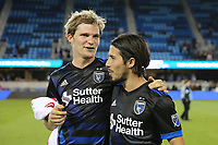 San Jose, CA - Friday April 14, 2017: Florian Jungwirth, Jahmir Hyka  during a Major League Soccer (MLS) match between the San Jose Earthquakes and FC Dallas at Avaya Stadium.