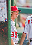 15 June 2016: Washington Nationals bench coach Chris Speier watches play from the dugout during game action against the Chicago Cubs at Nationals Park in Washington, DC. The Nationals defeated the Cubs 5-4 in 12 innings to take the rubber match of their 3-game series. Mandatory Credit: Ed Wolfstein Photo *** RAW (NEF) Image File Available ***