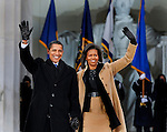 President elect Barack Obama arrives with his wife Michelle for the Obama Inauguration Celebration on the steps of the Lincoln Memorial, Sunday Jan. 18, 2009.
