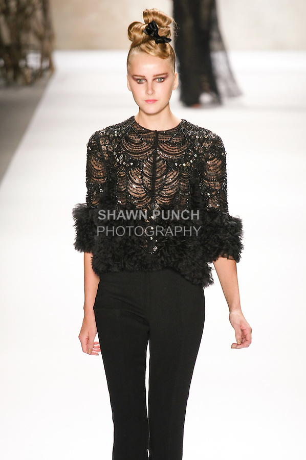 Lisanne de Jong walks runway in a Monique Lhuillier Fall 2011 outfit, during Mercedes-Benz Fashion Week Fall 2011.