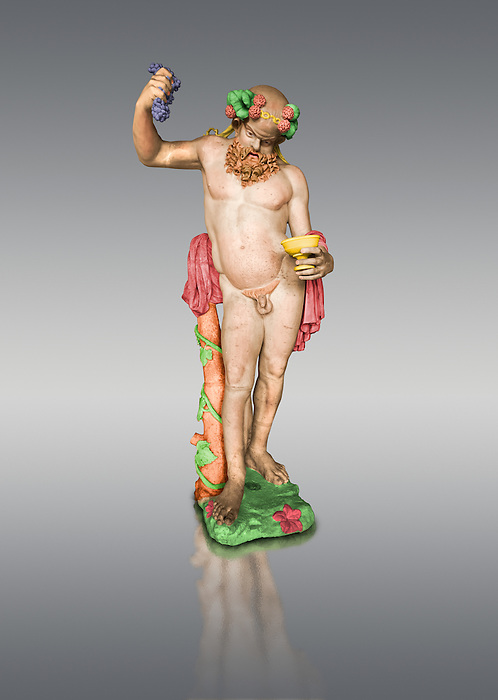 """Painted colour verion of  """" Silenus Drunk """" - A 2nd century AD Roman sculpture made from marble from Paros. Silenus was described as the oldest, wisest and most drunken of the followers of Dionysus, the god of wine. When intoxicated, Silenus was said to possess special knowledge and the power of prophecy. From the Ancient Royal Collection of France inv MR 343 (or MA 291) previously held at Versailles. Louvre Museum Paris."""