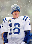 3 January 2010: Indianapolis Colts' quarterback Peyton Manning watches play from the sidelines during a game against the Buffalo Bills on a cold, snowy, final game of the season at Ralph Wilson Stadium in Orchard Park, New York. The Bills defeated the Colts 30-7. Mandatory Credit: Ed Wolfstein Photo