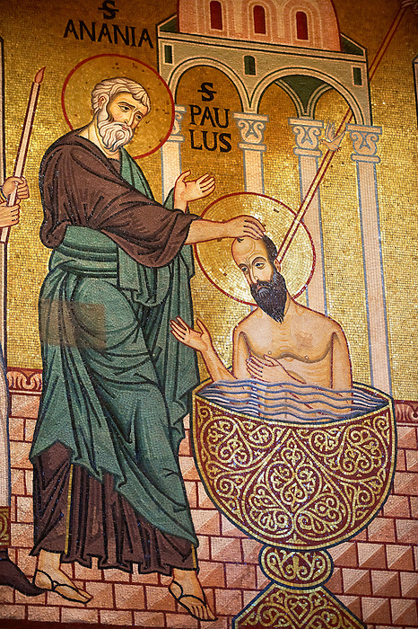 Byzantine mosaics at the Palatine Chapel ( Capella Palatina ) Norman Palace Palermo, Sicily, Italy Saint Paul Being baptized.