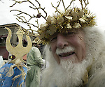 84-year-old Bob Kerr, dressed as King Neptune, was newcomer in the 21st annual Summer Solstice Parade held Saturday, June 20, 2009 in Seattle, Wa. The parade was held Saturday, bringing out painted and naked bicyclists, bands, belly dancers and floats. (Jim Bryant Photo © 2009)... .