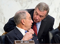 United States Senator Chuck Grassley (Republican of Iowa), Chairman, US Senate Judiciary Committee, and United States Senate Minority Whip Dick Durbin (Democrat of Illinois) speak as Judge Neil Gorsuch testifies before the committee on his nomination as Associate Justice of the US Supreme Court to replace the late Justice Antonin Scalia on Capitol Hill in Washington, DC on Tuesday, March 21, 2017.<br /> Credit: Ron Sachs / CNP /MediaPunch