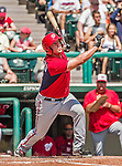 21 March 2015: Washington outfielder Mark Minicozzi pinch hits in the 5th inning of a Spring Training Split Squad game against the Atlanta Braves at Champion Stadium at the ESPN Wide World of Sports Complex in Kissimmee, Florida. The Braves defeated the Nationals 5-2 in Grapefruit League play. Mandatory Credit: Ed Wolfstein Photo *** RAW (NEF) Image File Available ***