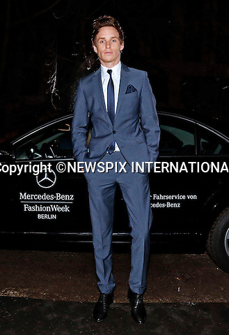 EDDIE REDMAYNE.attends the Hugo Boss Show at Mercedes-Benz Autumn/Winter 2013 Fashion Week, Berlin_17/01/2013.MANDATORY PHOTO CREDIT: ©Mercedes/NEWSPIX INTERNATIONAL . .(Failure to by-line the photograph will result in an additional 100% reproduction fee surcharge. You must agree not to alter the images or change their original content)..            *** ALL FEES PAYABLE TO: NEWSPIX INTERNATIONAL ***..IMMEDIATE CONFIRMATION OF USAGE REQUIRED:Tel:+441279 324672..Newspix International, 31 Chinnery Hill, Bishop's Stortford, ENGLAND CM23 3PS.Tel: +441279 324672.Fax: +441279 656877.Mobile: +447775681153.e-mail: info@newspixinternational.co.uk