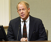 Don Mercer, director of risk management and security for Prince William County, Virginia Schools, testifies in the trial of sniper suspect John Allen Muhammad in Virginia Beach Circuit Court in Virginia Beach, Virginia on November 9, 2003.   Mercer said &quot;The parents were scared, the students were scared, the staff were scared&quot; during the sniper shootings. <br /> Credit: Tracy Woodward - Pool via CNP