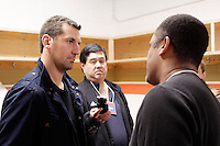 14 December 2012: Francois Beauchemin being interviewed by members of the print media before the NHLPA players skated in a Charity Game at The Rinks -Anaheim Ice benefiting the Jr. Ducks Pee Wee AAA team and The Children's Hospital of Orange County.  The players skated 4 on 4 with a standing room only capacity of fans with over 500 tickets sold. The White team won the game 10-6 in a Ducks vs Kings lineup.  The NHL is in its 92nd day of locking out their players.