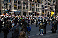 NEW YORK, NY - NOVEMBER 12: Anti-Donald Trump protesters march up 5th Avenue to Trump Towers escorted by the police in November 12, 2016 in New York City. Photo by VIEWpress/Maite H. Mateo.