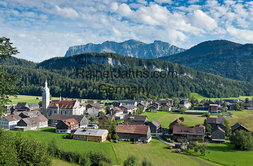 Bezau Austria  city pictures gallery : Austria, Vorarlberg, Bezau: resort at Bregenzerwald with parish church ...