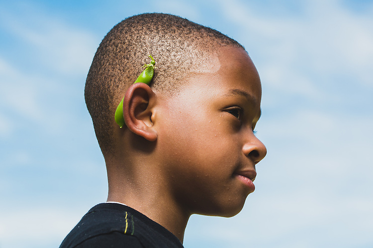 Eastway Elementary School student Markel Dixon, 8, is one of a group of students who have grown peas and radishes in a garden at the school from seeds that came from the seed library found in the Durham Public Library downtown location.