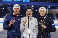 SCHAATSEN: HEERENVEEN: 04-02-2017, KPN NK Junioren, Podium Junioren A Heren 1000m, Niek Deelstra, Thijs Govers, Joost van Dobbenburgh, ©foto Martin de Jong
