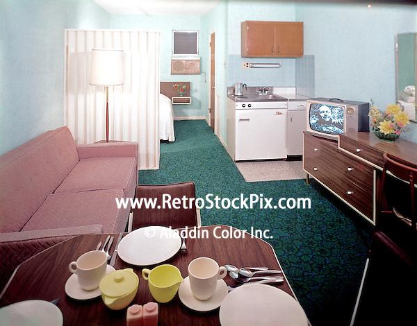 Packard Motel, North Wildwood, NJ. 1960's Efficiency Room.