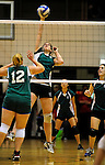 14 November 2010: Vermont Commons School Junior and team co-captain Leslie Gadway in action during the 2010 Vermont State Volleyball Championships at Saint Michael's College in Colchester, Vermont. Participating schools included: the Enosburg Falls Hornets, the Lake Region Union Rangers, the Lyndon Institute Vikings, and the VCS Flying Turtles. The Girls Championship went to Vermont Commons School for the third consecutive year, while the Boys Championship went to Lake Region Union High School for the first time. Mandatory Credit: Ed Wolfstein Photo.