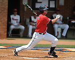 Mississippi's Tim Ferguson (4) bats vs. St. John's in the first inning during an NCAA Regional game at Davenport Field in Charlottesville, Va. on Sunday, June 6, 2010.
