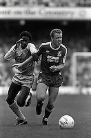 Pix:Michael Steele/SWpix...Soccer. Dave Bennett, Steve Nicol, Coventry v Liverpool. 1987...COPYRIGHT PICTURE>>SIMON WILKINSON..Dave Bennett, Steve Nicol, Cventry v Liverpool. 1987.