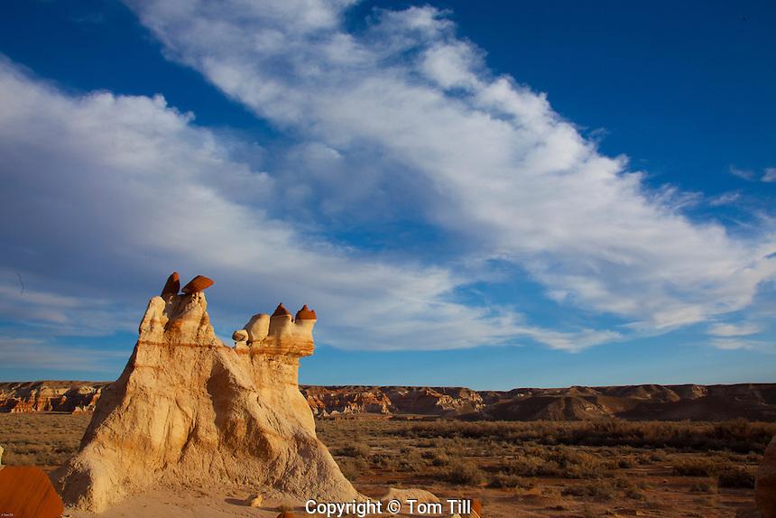 Mudmen hoodoos and clouds at Blue Mesa, Hopi Reservation, Arizona