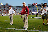 TALLAHASSEE, FL 10/10/09-FSU-Ga. Tech FB09 CH04-Florida State Offensive Coordinator Jimbo Fisher, left, and Head Coach Bobby Bowden monitor their team prior to the Georgia Tech game Saturday at Doak Campbell Stadium in Tallahassee. .COLIN HACKLEY PHOTO
