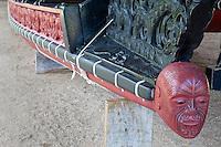 Maori Figurehead on War Canoe on display at Waitangi Treaty Grounds, Paihia, north island, New Zealand.