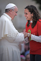 Pope Francis meeting with young people outside the basilica of Saint Mary of the Angels as part of His pastoral visit in Assisi on October 4, 2013