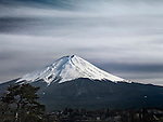 Mt. Fuji under dramatic sky. Fujikawaguchiko, Yamanashi, Japan.