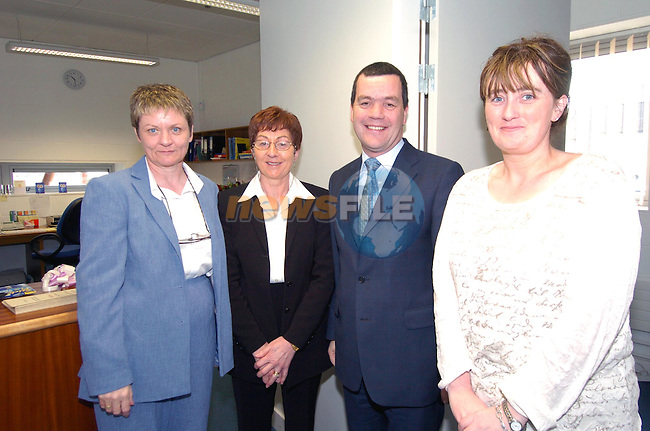 Ann Hanley Rosaleen Hock and Tresa Fallon with Education Minister Noel Dempsey at the opening of Drogheda College of Further Education..Picture Fran Caffrey Newsfile