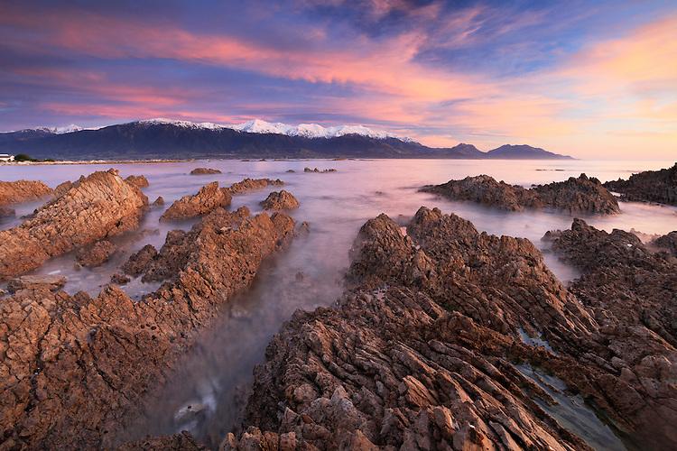 Sunrise looking towards the Kaikoura Mountains and Kaikoura Bay, South Island, New Zealand - stock photo, canvas, fine art print