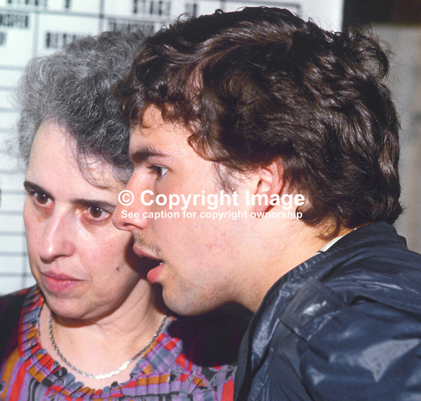 Kyle Paisley, son of Rev Ian Paisley, leader, Democratic Unionist Party, pictured with his mother, Mrs Eileen Paisley, at the N Ireland Count during the 1984 European Elections in which his father topped the poll. 19840083KP3.<br />