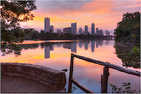 The colors across Lady Bird Lake were surreal on this morning. In the distance, the quiet skyscrapers of downtown Austin rose into the pastel sky. Earlier, I had been visited by some swans, but now all was quiet in this photo from the capitol city of Texas.