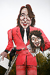 The finishing touches are put to an effigy of British television presenter Jonathan Ross and Russell Brand by Frank Shepherd of the Edenbridge Bonfire Society .
